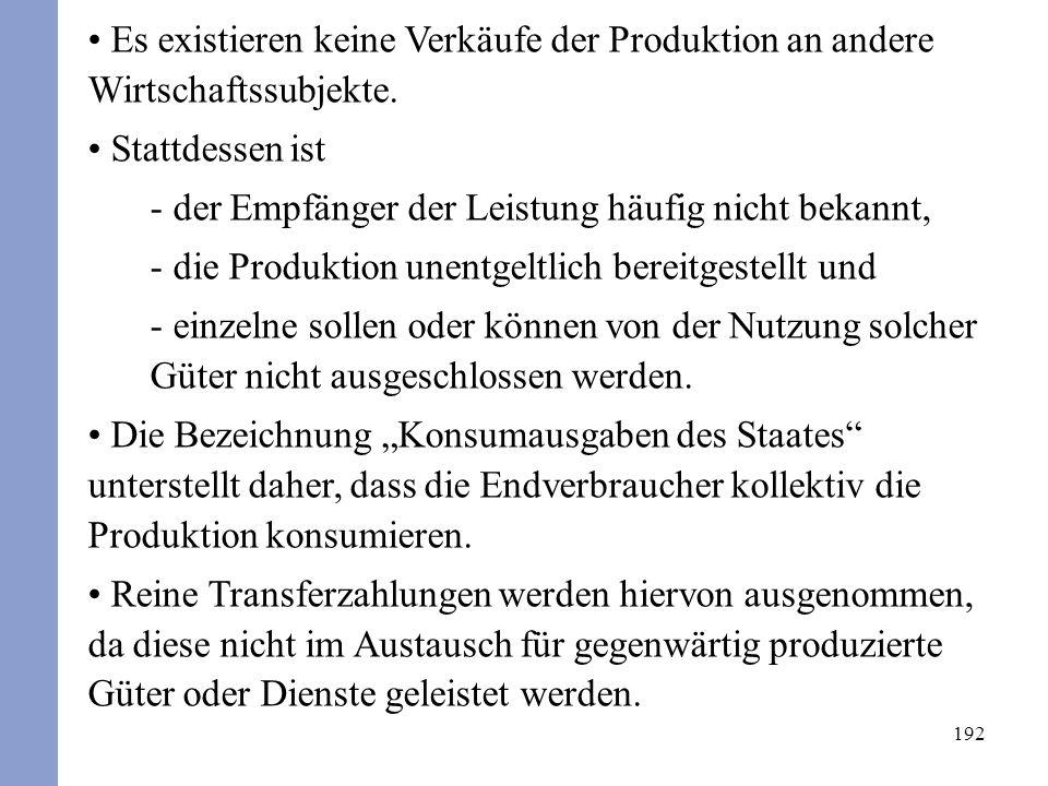 192 Es existieren keine Verkäufe der Produktion an andere Wirtschaftssubjekte. Stattdessen ist - der Empfänger der Leistung häufig nicht bekannt, - di