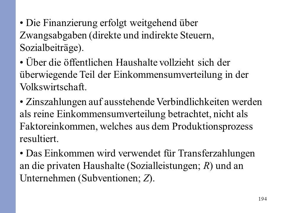 194 Die Finanzierung erfolgt weitgehend über Zwangsabgaben (direkte und indirekte Steuern, Sozialbeiträge). Über die öffentlichen Haushalte vollzieht