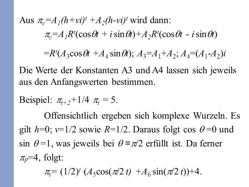 Aus c =A 1 (h+vi) t +A 2 (h-vi) t wird dann: c =A 1 R t (cos t + i. sin t)+A 2 R t (cos t - i. sin t) =R t (A 3 cos t +A 4. sin t); A 3 =A 1 +A 2 ; A