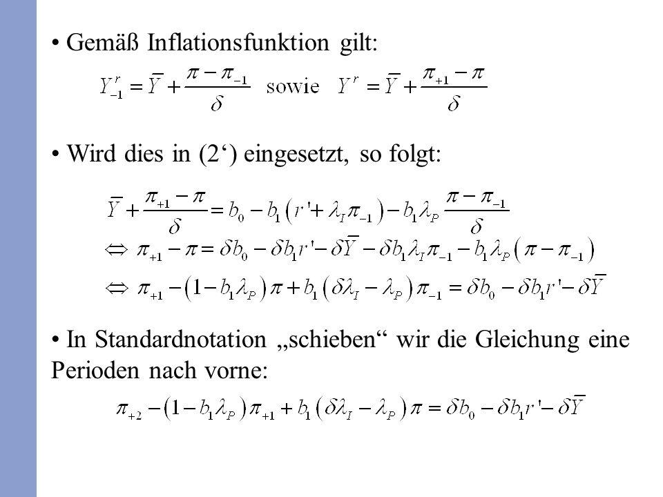 Gemäß Inflationsfunktion gilt: Wird dies in (2) eingesetzt, so folgt: In Standardnotation schieben wir die Gleichung eine Perioden nach vorne:
