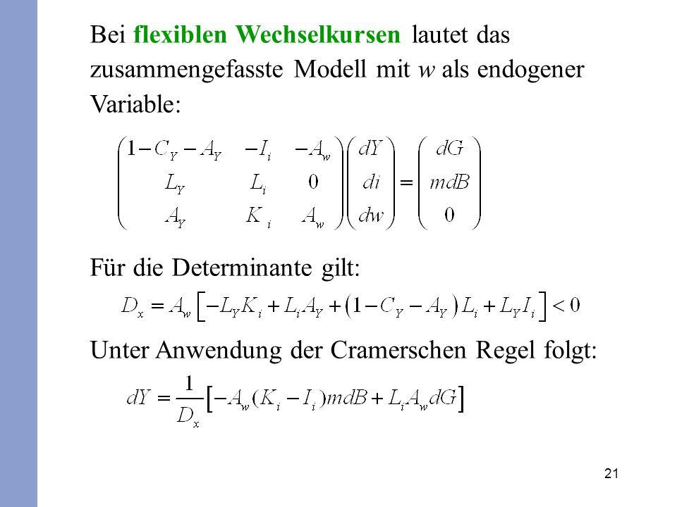 21 Bei flexiblen Wechselkursen lautet das zusammengefasste Modell mit w als endogener Variable: Für die Determinante gilt: Unter Anwendung der Cramers