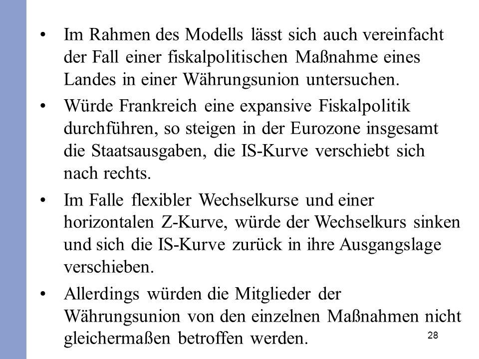 28 Im Rahmen des Modells lässt sich auch vereinfacht der Fall einer fiskalpolitischen Maßnahme eines Landes in einer Währungsunion untersuchen. Würde