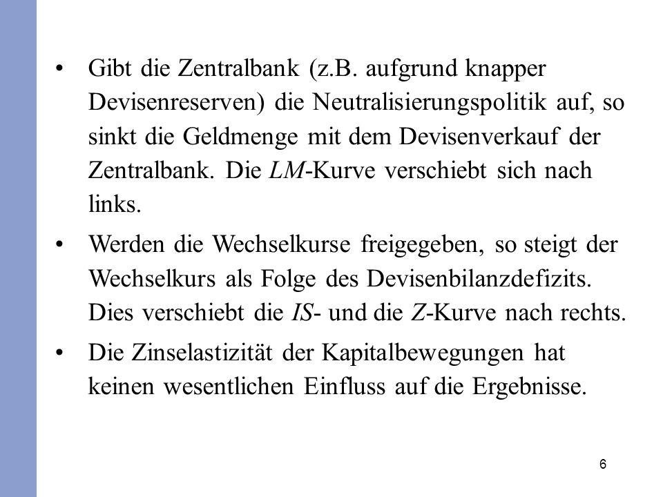 6 Gibt die Zentralbank (z.B. aufgrund knapper Devisenreserven) die Neutralisierungspolitik auf, so sinkt die Geldmenge mit dem Devisenverkauf der Zent