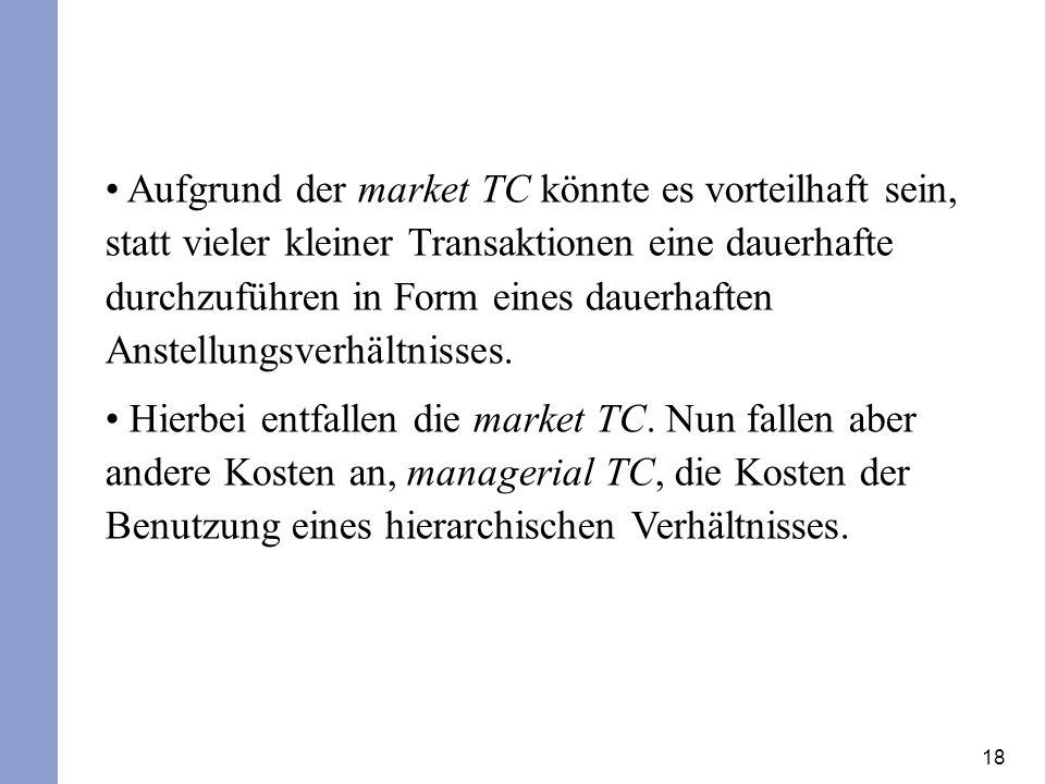 18 Aufgrund der market TC könnte es vorteilhaft sein, statt vieler kleiner Transaktionen eine dauerhafte durchzuführen in Form eines dauerhaften Anste
