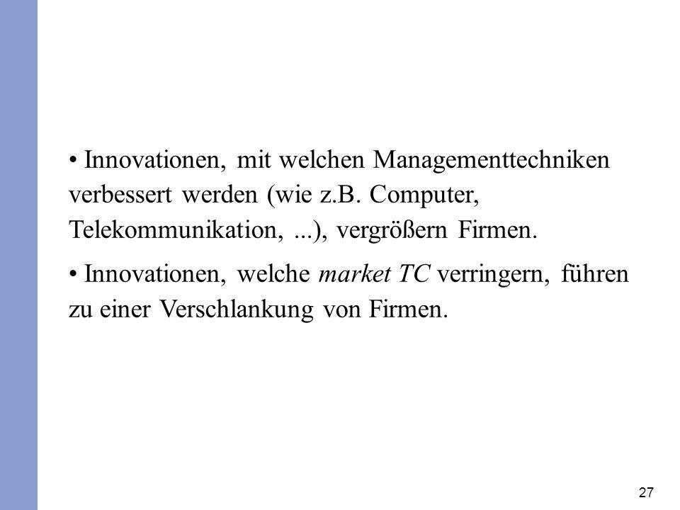 27 Innovationen, mit welchen Managementtechniken verbessert werden (wie z.B. Computer, Telekommunikation,...), vergrößern Firmen. Innovationen, welche