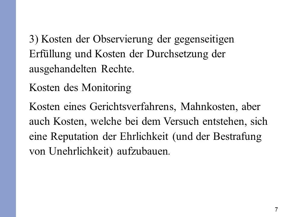 7 3) Kosten der Observierung der gegenseitigen Erfüllung und Kosten der Durchsetzung der ausgehandelten Rechte. Kosten des Monitoring Kosten eines Ger