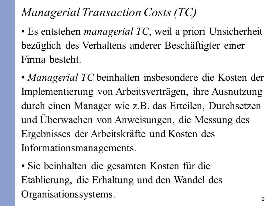 9 Managerial Transaction Costs (TC) Es entstehen managerial TC, weil a priori Unsicherheit bezüglich des Verhaltens anderer Beschäftigter einer Firma