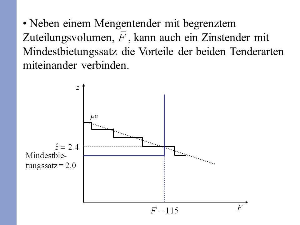 Neben einem Mengentender mit begrenztem Zuteilungsvolumen,, kann auch ein Zinstender mit Mindestbietungssatz die Vorteile der beiden Tenderarten miteinander verbinden.