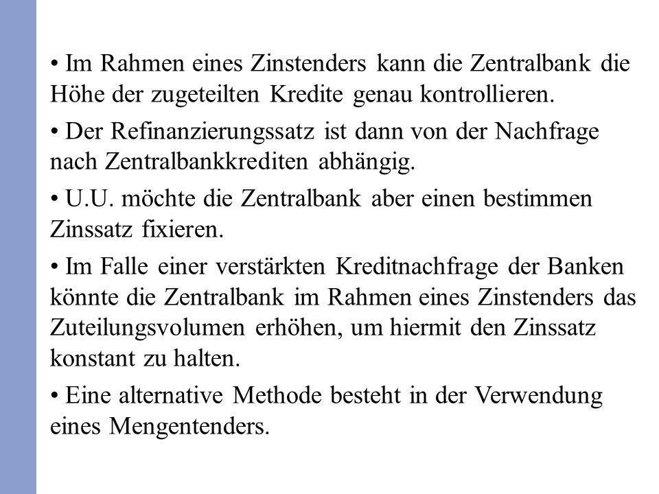 Im Rahmen eines Zinstenders kann die Zentralbank die Höhe der zugeteilten Kredite genau kontrollieren.