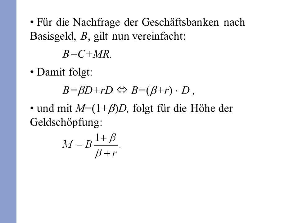 Für die Nachfrage der Geschäftsbanken nach Basisgeld, B, gilt nun vereinfacht: B=C+MR.