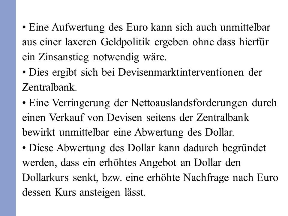 Eine Aufwertung des Euro kann sich auch unmittelbar aus einer laxeren Geldpolitik ergeben ohne dass hierfür ein Zinsanstieg notwendig wäre.