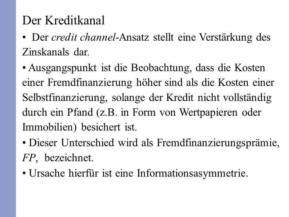 Der Kreditkanal Der credit channel-Ansatz stellt eine Verstärkung des Zinskanals dar.