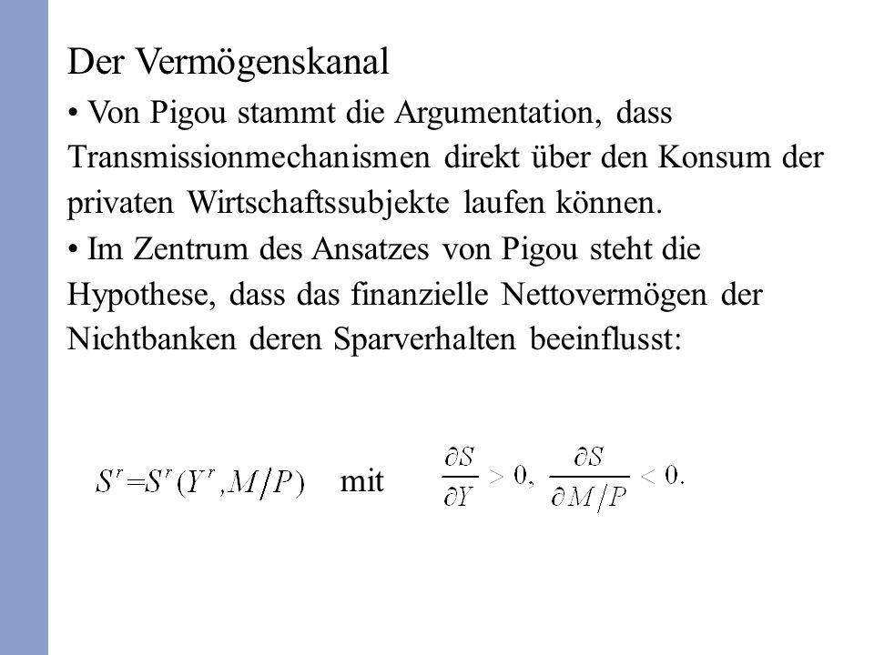 Der Vermögenskanal Von Pigou stammt die Argumentation, dass Transmissionmechanismen direkt über den Konsum der privaten Wirtschaftssubjekte laufen können.