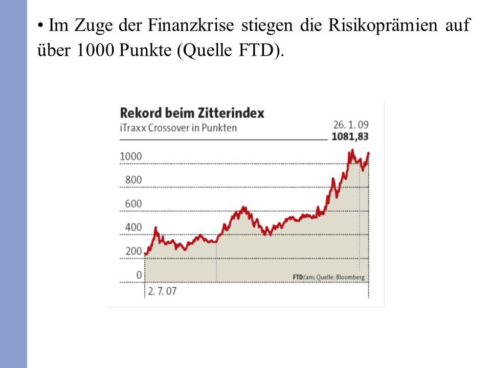 Im Zuge der Finanzkrise stiegen die Risikoprämien auf über 1000 Punkte (Quelle FTD).