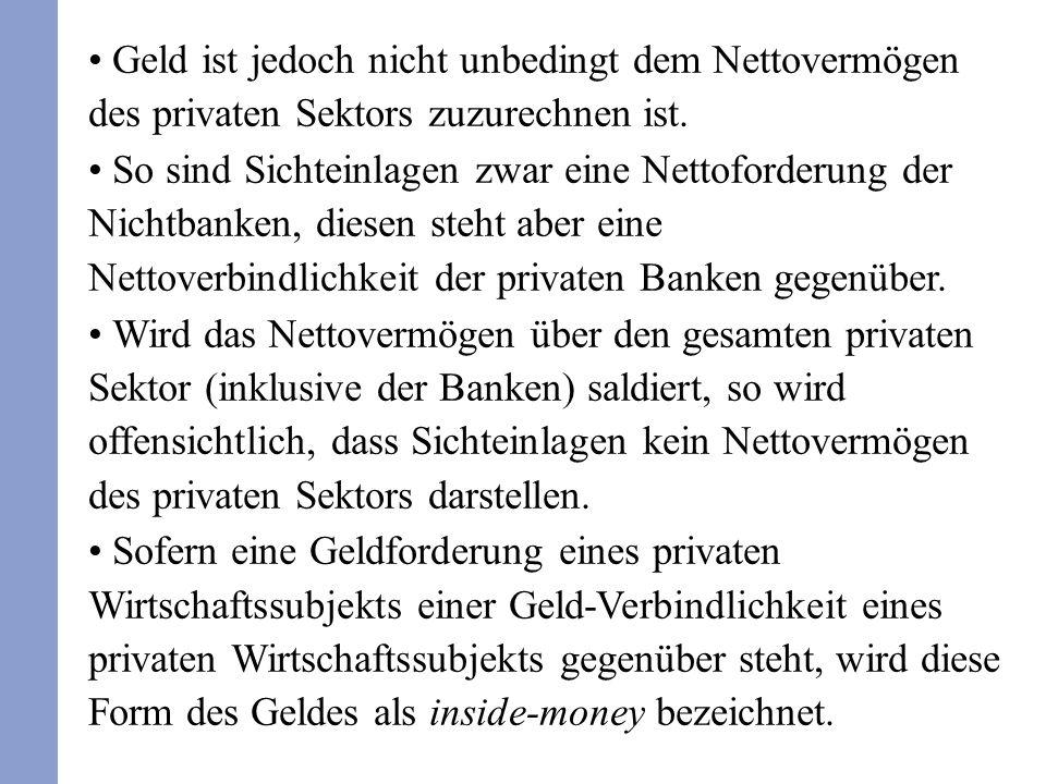 Geld ist jedoch nicht unbedingt dem Nettovermögen des privaten Sektors zuzurechnen ist.