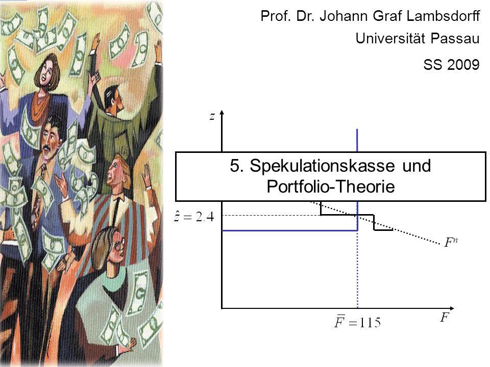 F FnFn z Prof. Dr. Johann Graf Lambsdorff Universität Passau SS 2009 5. Spekulationskasse und Portfolio-Theorie