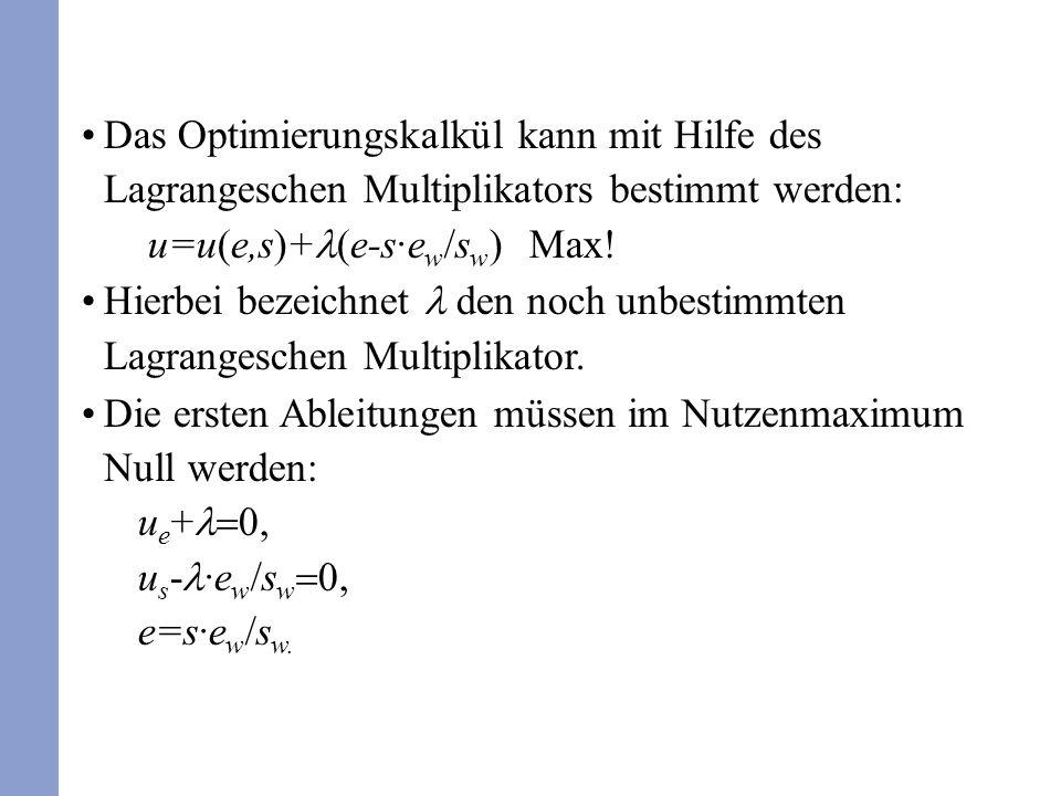 Das Optimierungskalkül kann mit Hilfe des Lagrangeschen Multiplikators bestimmt werden: u=u(e,s)+ (e-s·e w /s w ) Max! Hierbei bezeichnet den noch unb