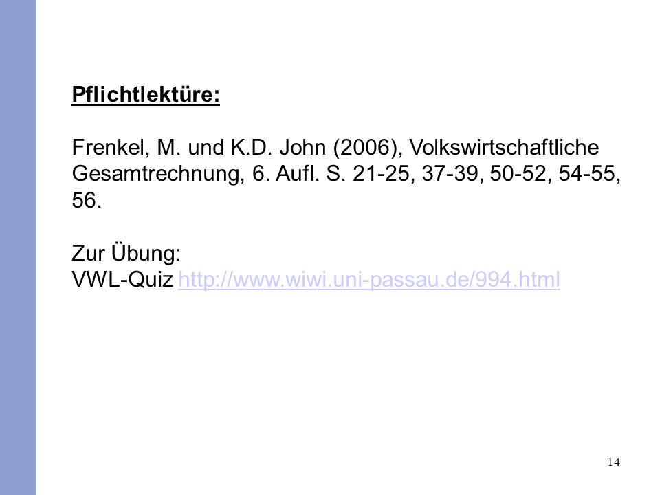 14 Pflichtlektüre: Frenkel, M. und K.D. John (2006), Volkswirtschaftliche Gesamtrechnung, 6. Aufl. S. 21-25, 37-39, 50-52, 54-55, 56. Zur Übung: VWL-Q
