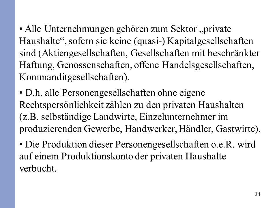 34 Alle Unternehmungen gehören zum Sektor private Haushalte, sofern sie keine (quasi-) Kapitalgesellschaften sind (Aktiengesellschaften, Gesellschafte