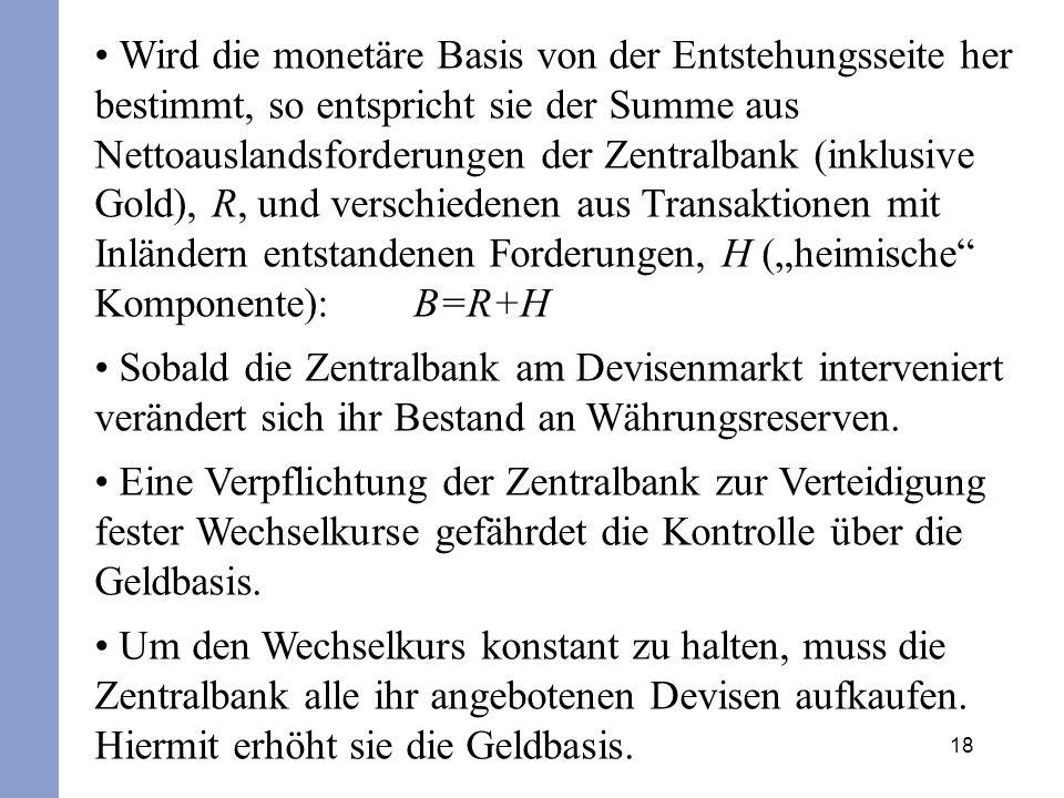 18 Wird die monetäre Basis von der Entstehungsseite her bestimmt, so entspricht sie der Summe aus Nettoauslandsforderungen der Zentralbank (inklusive