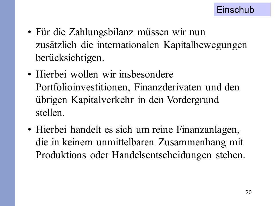 20 Für die Zahlungsbilanz müssen wir nun zusätzlich die internationalen Kapitalbewegungen berücksichtigen. Hierbei wollen wir insbesondere Portfolioin