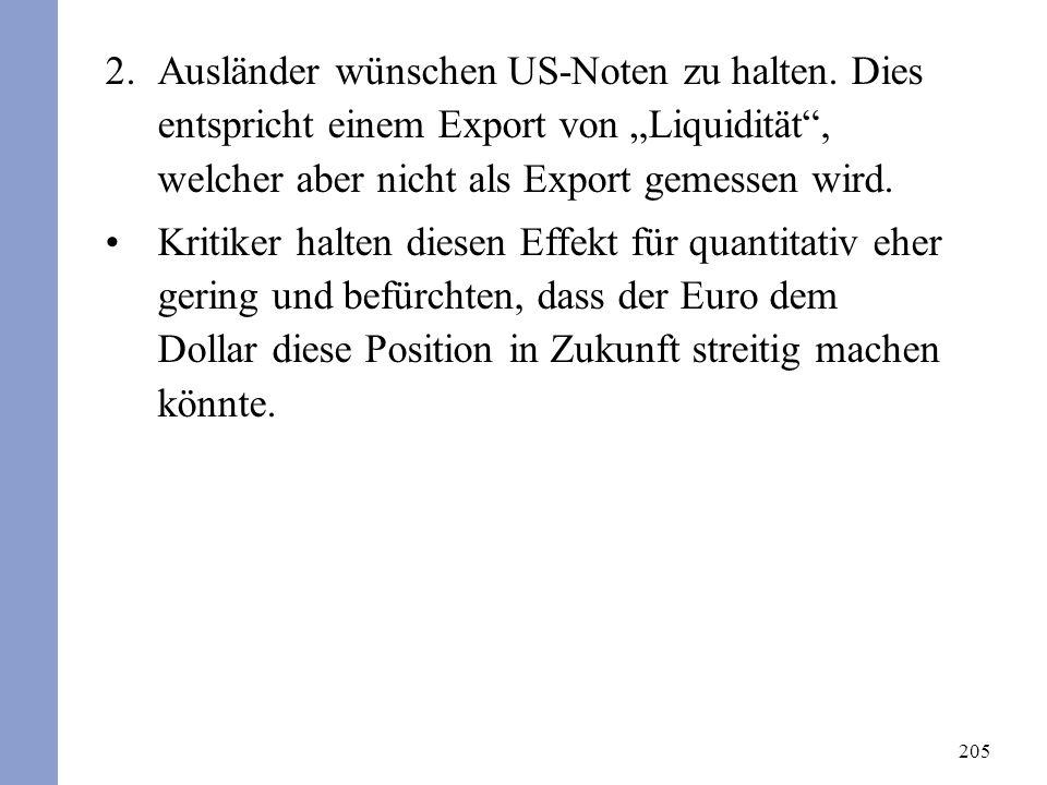 205 2.Ausländer wünschen US-Noten zu halten. Dies entspricht einem Export von Liquidität, welcher aber nicht als Export gemessen wird. Kritiker halten