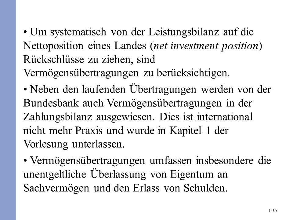 195 Um systematisch von der Leistungsbilanz auf die Nettoposition eines Landes (net investment position) Rückschlüsse zu ziehen, sind Vermögensübertragungen zu berücksichtigen.