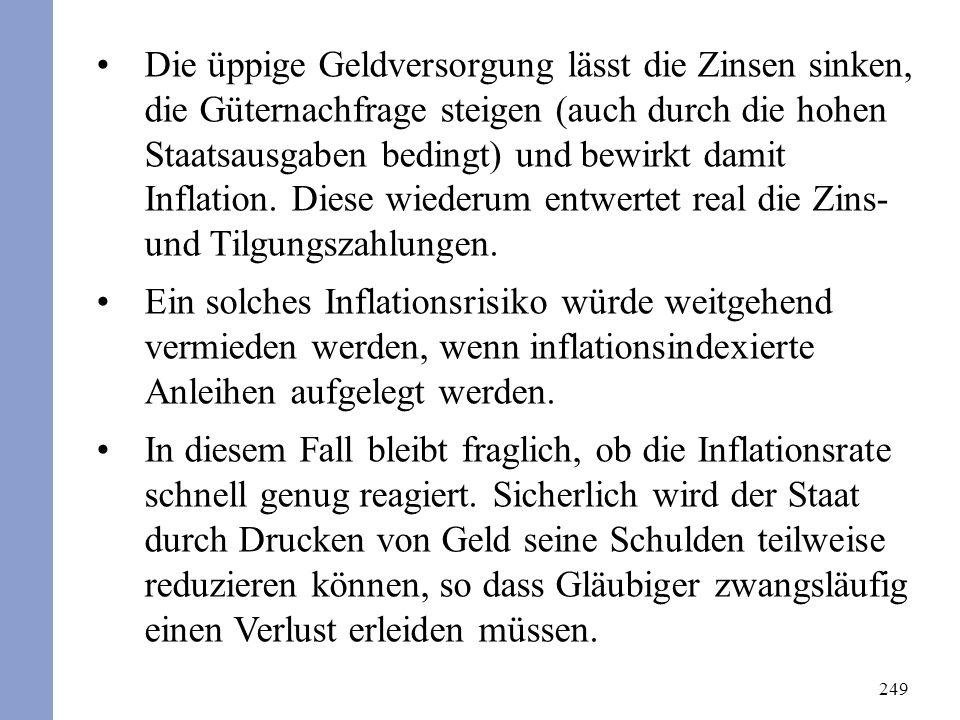 249 Die üppige Geldversorgung lässt die Zinsen sinken, die Güternachfrage steigen (auch durch die hohen Staatsausgaben bedingt) und bewirkt damit Inflation.