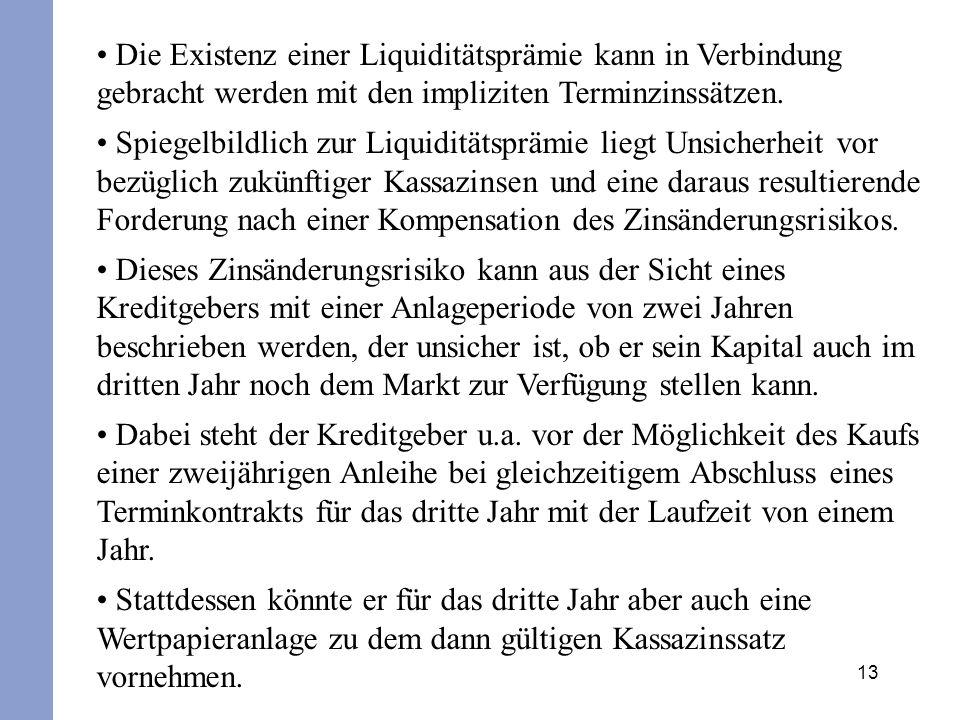 13 Die Existenz einer Liquiditätsprämie kann in Verbindung gebracht werden mit den impliziten Terminzinssätzen. Spiegelbildlich zur Liquiditätsprämie