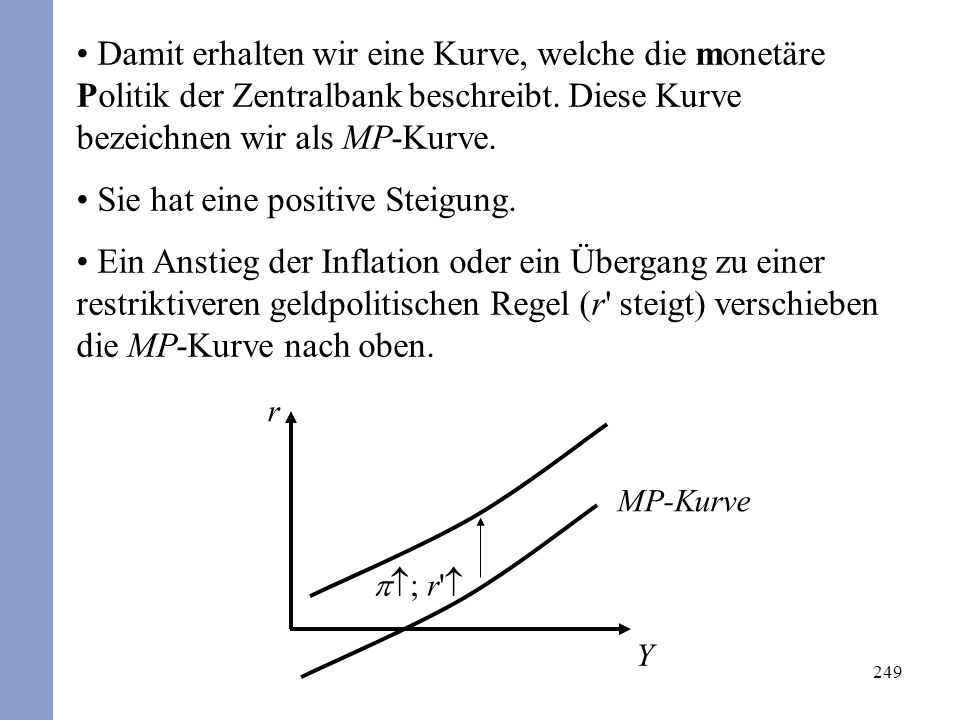 249 Damit erhalten wir eine Kurve, welche die monetäre Politik der Zentralbank beschreibt.