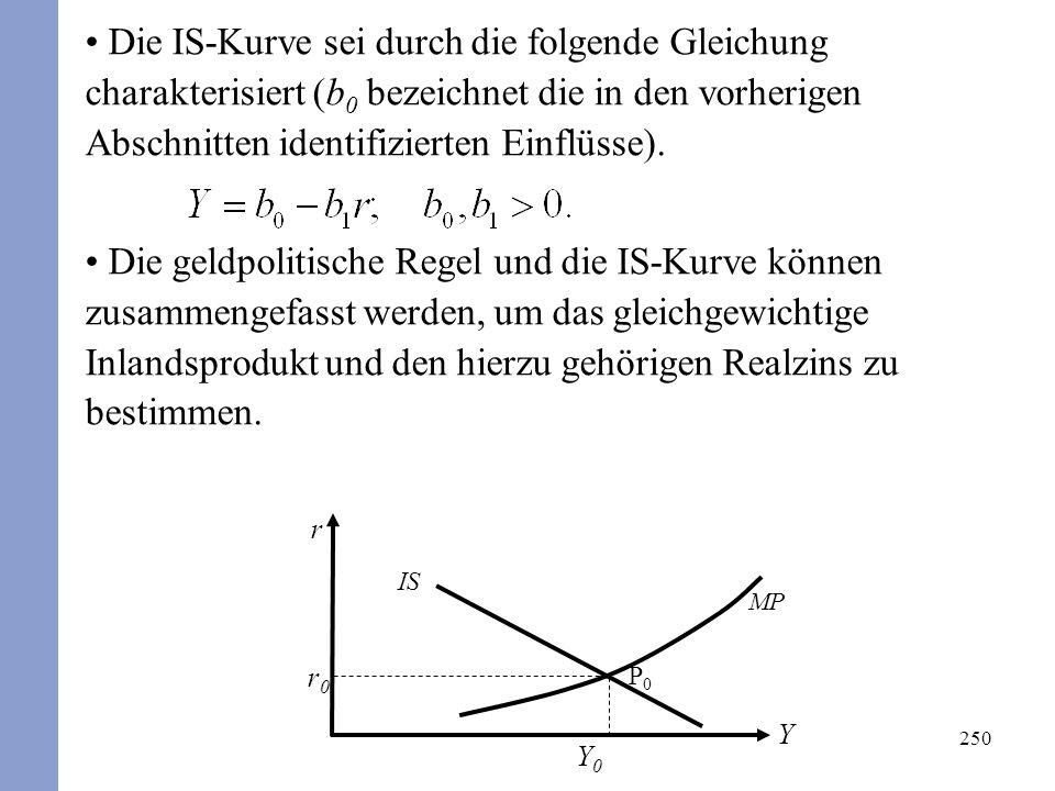 250 Die IS-Kurve sei durch die folgende Gleichung charakterisiert (b 0 bezeichnet die in den vorherigen Abschnitten identifizierten Einflüsse).