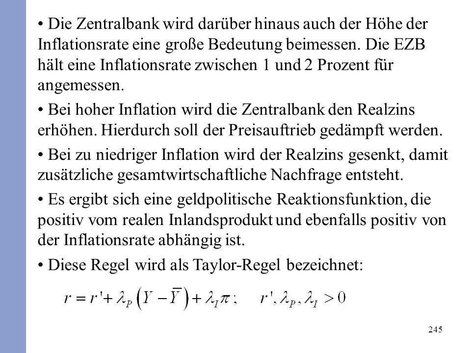 245 Die Zentralbank wird darüber hinaus auch der Höhe der Inflationsrate eine große Bedeutung beimessen.