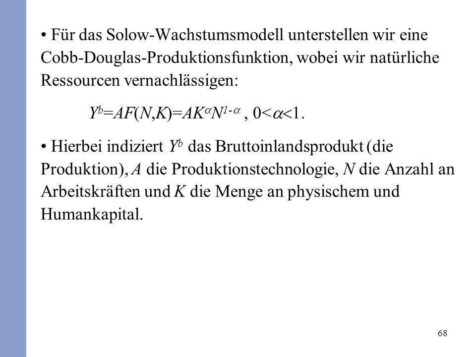 68 Für das Solow-Wachstumsmodell unterstellen wir eine Cobb-Douglas-Produktionsfunktion, wobei wir natürliche Ressourcen vernachlässigen: Y b =AF(N,K)