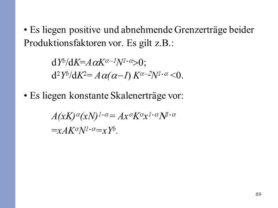 69 Es liegen positive und abnehmende Grenzerträge beider Produktionsfaktoren vor. Es gilt z.B.: dY b /dK=A K N 1- d 2 Y b /dK 2 = A ( ) K N 1- <0. Es