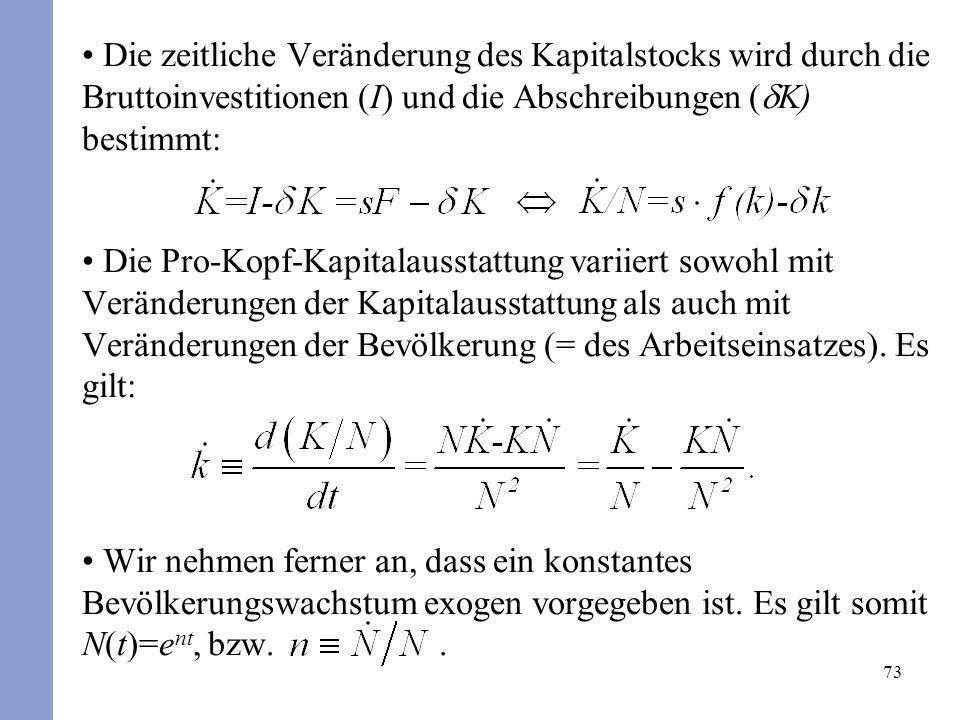 73 Die zeitliche Veränderung des Kapitalstocks wird durch die Bruttoinvestitionen (I) und die Abschreibungen ( K) bestimmt: Die Pro-Kopf-Kapitalaussta