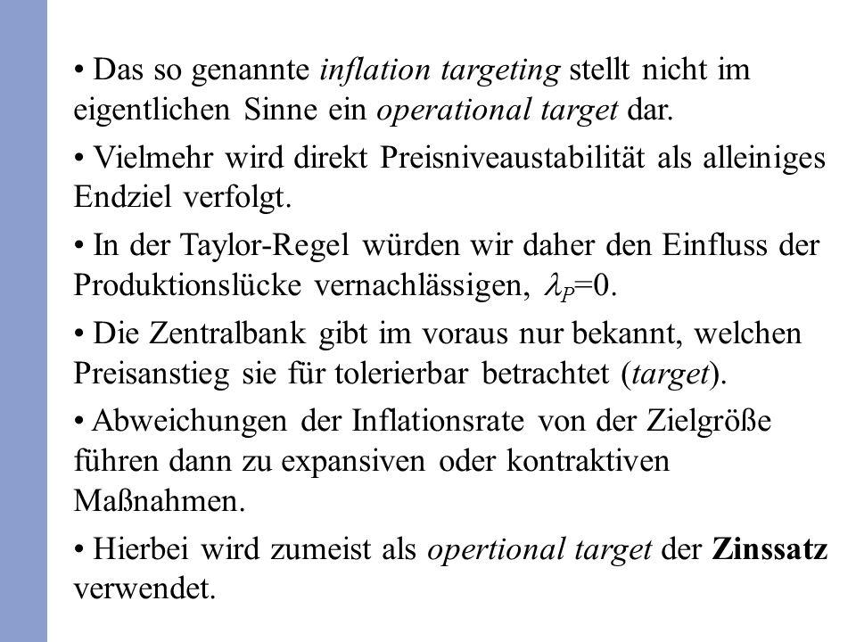 Das so genannte inflation targeting stellt nicht im eigentlichen Sinne ein operational target dar.