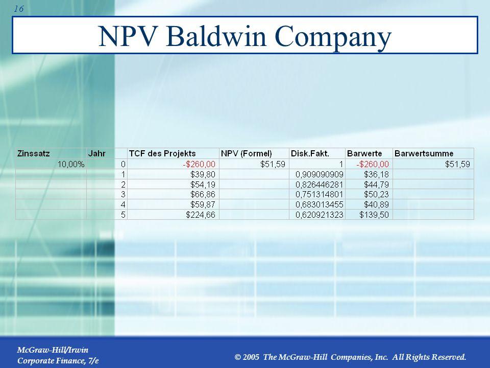 McGraw-Hill/Irwin Corporate Finance, 7/e © 2005 The McGraw-Hill Companies, Inc. All Rights Reserved. 15 Zusätzliche Nach-Steuer-Cashflows der Baldwin