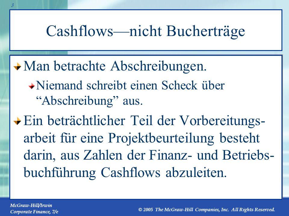 McGraw-Hill/Irwin Corporate Finance, 7/e © 2005 The McGraw-Hill Companies, Inc. All Rights Reserved. 2 1 Zusätzliche Cashflows Cashflows zählennicht b