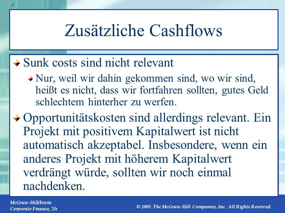 McGraw-Hill/Irwin Corporate Finance, 7/e © 2005 The McGraw-Hill Companies, Inc. All Rights Reserved. 3 Cashflowsnicht Bucherträge Man betrachte Abschr