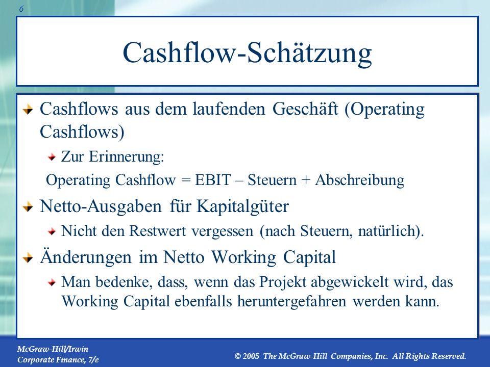 McGraw-Hill/Irwin Corporate Finance, 7/e © 2005 The McGraw-Hill Companies, Inc. All Rights Reserved. 5 Zusätzliche Cashflows Nebenwirkungen zählen. Er