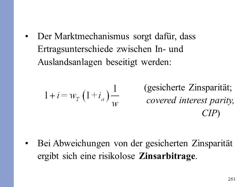261 Der Marktmechanismus sorgt dafür, dass Ertragsunterschiede zwischen In- und Auslandsanlagen beseitigt werden: (gesicherte Zinsparität; covered int