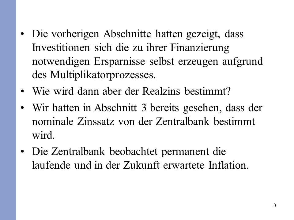 3 Die vorherigen Abschnitte hatten gezeigt, dass Investitionen sich die zu ihrer Finanzierung notwendigen Ersparnisse selbst erzeugen aufgrund des Multiplikatorprozesses.
