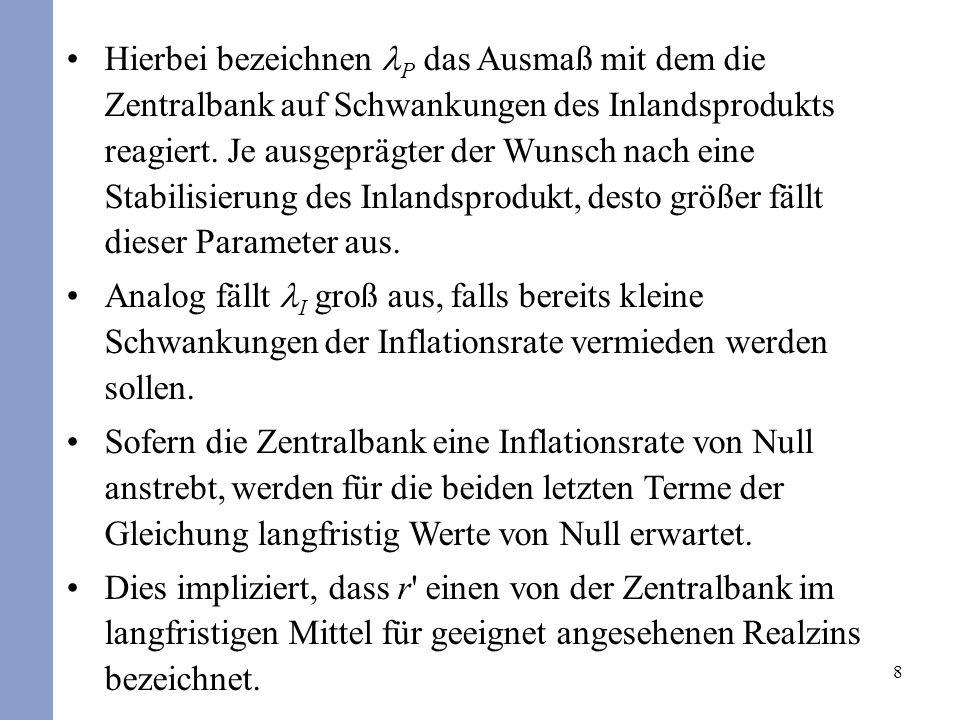 8 Hierbei bezeichnen P das Ausmaß mit dem die Zentralbank auf Schwankungen des Inlandsprodukts reagiert.