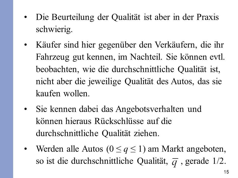 15 Die Beurteilung der Qualität ist aber in der Praxis schwierig. Käufer sind hier gegenüber den Verkäufern, die ihr Fahrzeug gut kennen, im Nachteil.