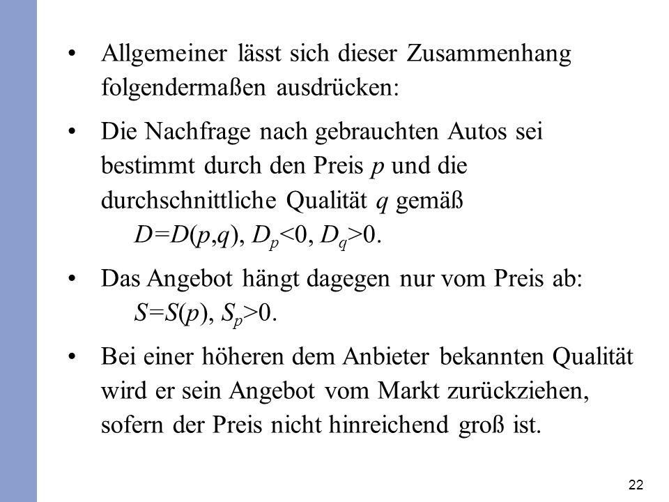 22 Allgemeiner lässt sich dieser Zusammenhang folgendermaßen ausdrücken: Die Nachfrage nach gebrauchten Autos sei bestimmt durch den Preis p und die durchschnittliche Qualität q gemäß D=D(p,q), D p 0.