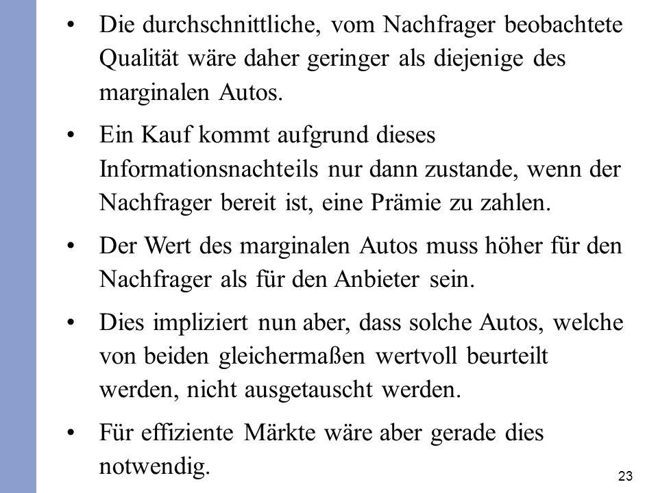 23 Die durchschnittliche, vom Nachfrager beobachtete Qualität wäre daher geringer als diejenige des marginalen Autos.