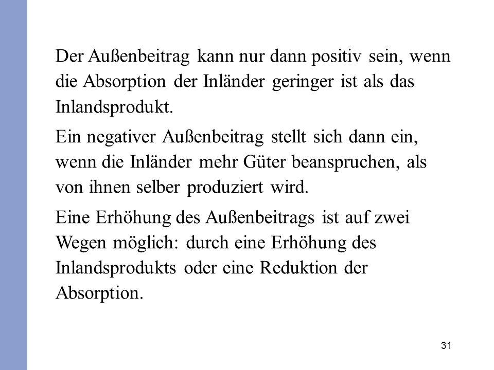 31 Der Außenbeitrag kann nur dann positiv sein, wenn die Absorption der Inländer geringer ist als das Inlandsprodukt. Ein negativer Außenbeitrag stell