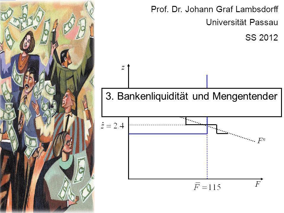 F FnFn z Prof. Dr. Johann Graf Lambsdorff Universität Passau SS 2012 3. Bankenliquidität und Mengentender