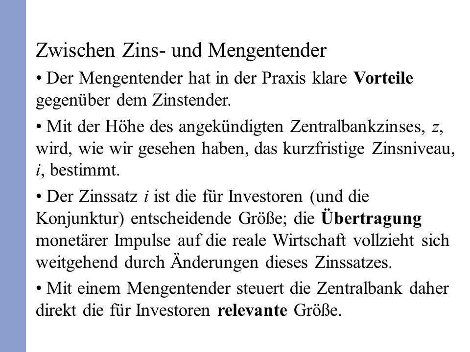 Zwischen Zins- und Mengentender Der Mengentender hat in der Praxis klare Vorteile gegenüber dem Zinstender. Mit der Höhe des angekündigten Zentralbank