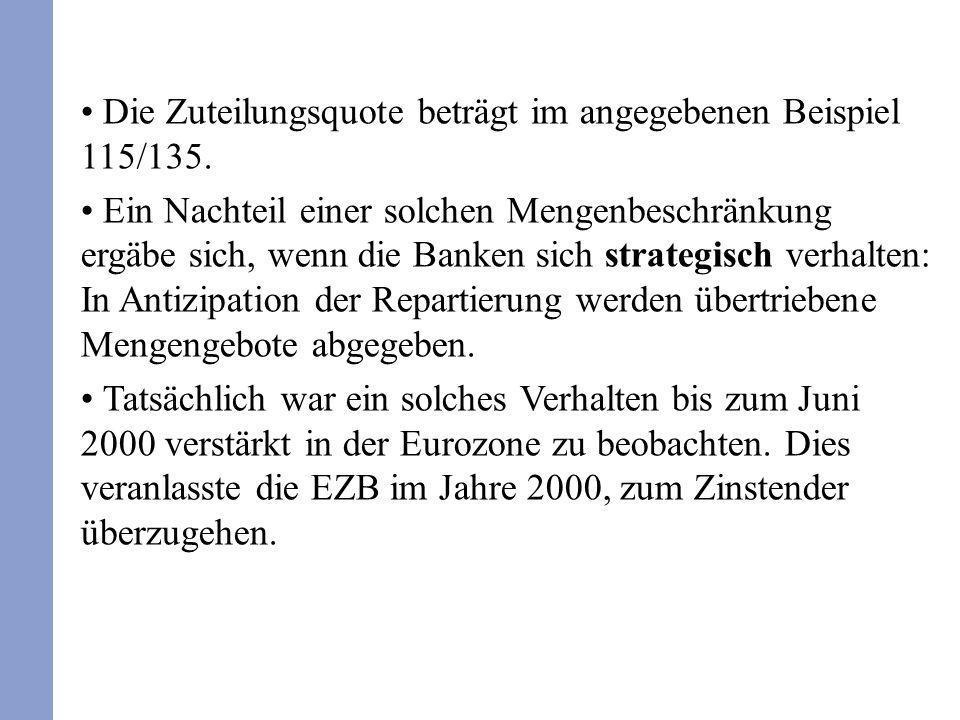 Die Zuteilungsquote beträgt im angegebenen Beispiel 115/135. Ein Nachteil einer solchen Mengenbeschränkung ergäbe sich, wenn die Banken sich strategis